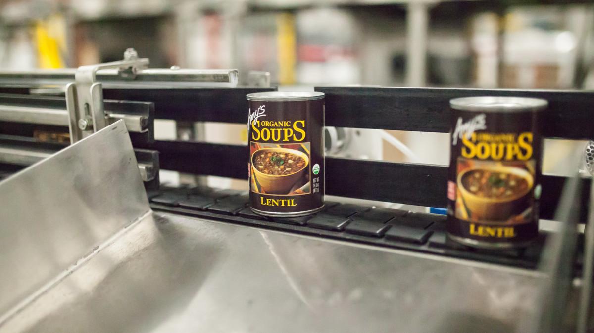 Amy's lentil soup tins