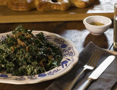"""Vegan Kale Caesar Salad with Veggie Burger """"Croutons"""""""