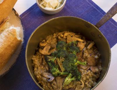 Mushroom Farrotto with Seared Cremini Mushrooms and Broccoli